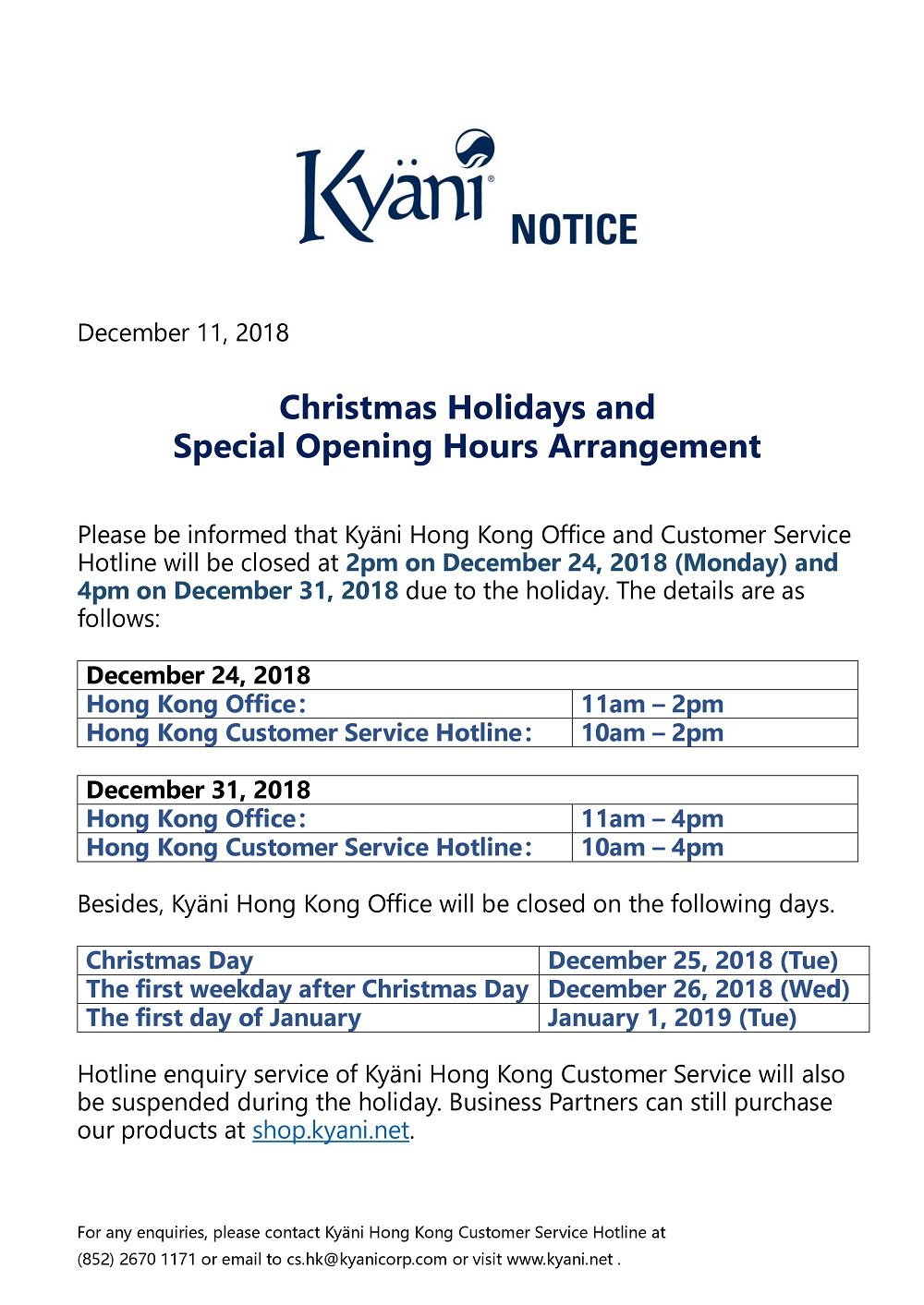 Christmas Holidays and Special Opening Hours Arrangement